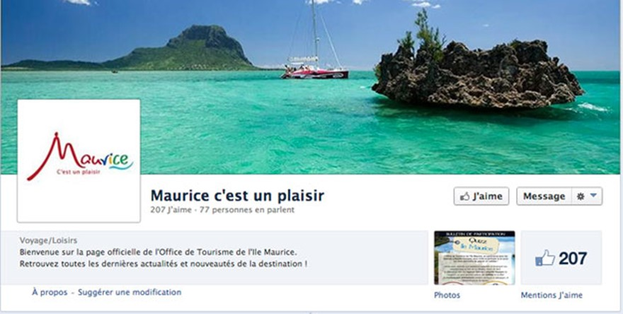 L'Office de Tourisme de l'Ile Maurice lance sa page Facebook France